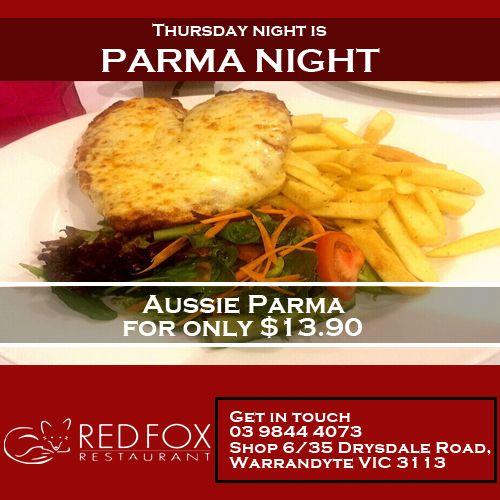 Thursday night is parma night- Enjoy our aussie parma for only $13.90... Book a table now: www.redfoxrestaurant.com.au/book-a-table/  #RedFoxRestaurant #Restaurant #Warrandyte #Melbourne #Australia #ThursdayParmaNight #Food #ParmaNight #FoodLove #EatFresh #FoodPorn