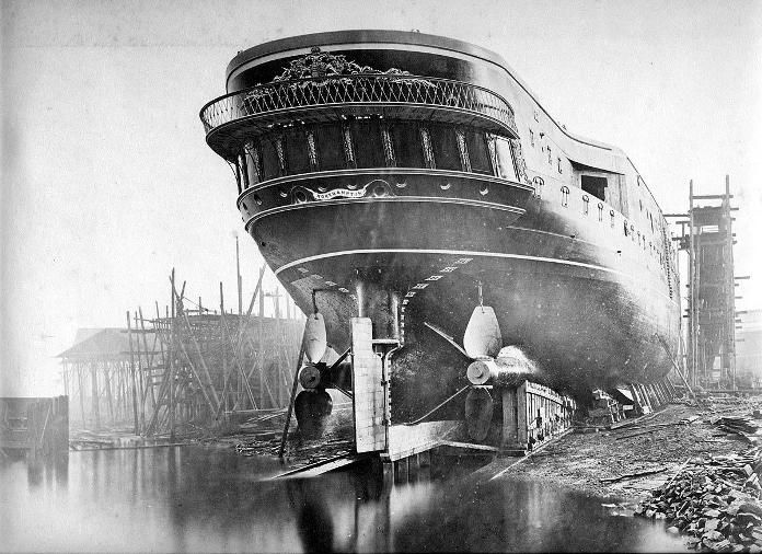 Govan New Yard, Glasgow. H.M.S. Northampton, 1876. The Glasgow shipyards were, at this time, the most productive in the world.