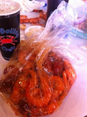 The Boiling Crab- shrimp, king crab, and sausage with their whole shebang sauce