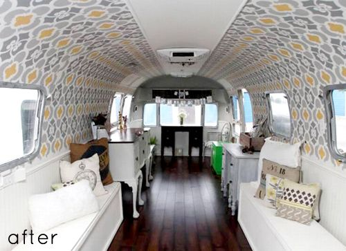 Vintage campers and trailers are certainly enjoying a resurgence lately, and it's wonderful to see people adapting the interiors to suit various needs. Ida Gleaton, the woman behind this transformation, uses her airstream as a traveling storefront for her shop, The Urban Cottage, selling revamped vintage furniture pieces straight out of this lovely interior. So clever, and nicely done, Ida!