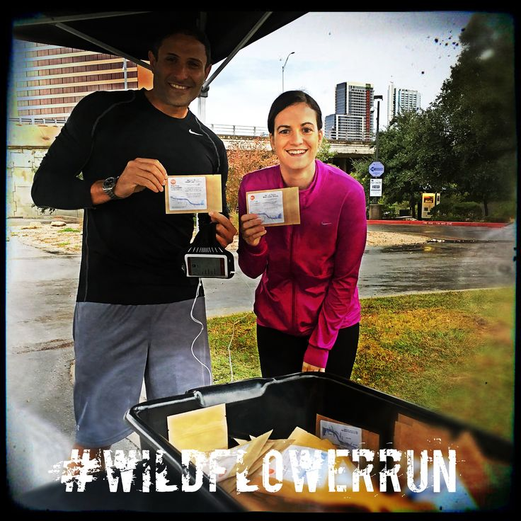 Rainy morning was perfect weather for Austin 10K'rs to sow native Texas wildflower seeds from The Trail Foundation along Lady Bird Lake.