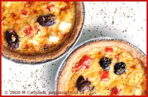 Feta pie with olives and bell pepper