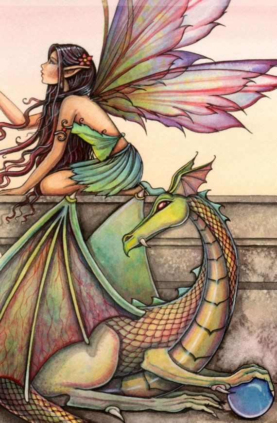 Fairy Dragon Fine Art Print 12 x 16 'Dragon's by MollyHarrisonArt