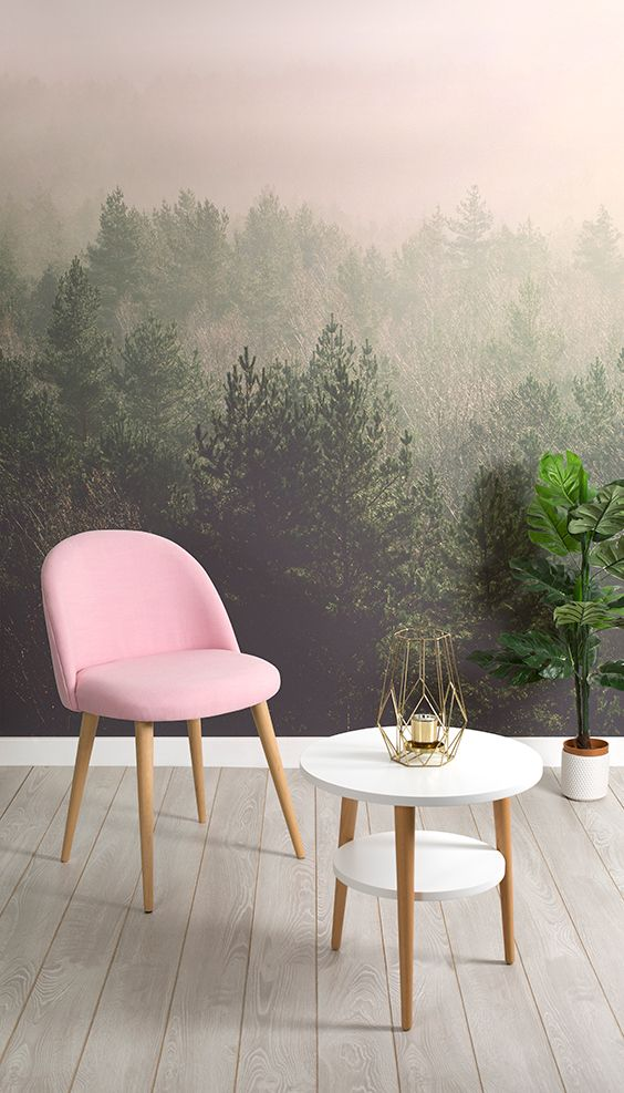 Fall in love with pink and green. This forest wallpaper takes you soaring high above crisp pine trees where you find yourself surrounded by subtle pink clouds of fog. Perfect for modern living room settings.