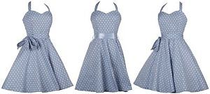 Light-Blue-Polka-Dot-Spot-1950s-Rockabilly-Swing-Prom-Cocktail-Dress-UK-18