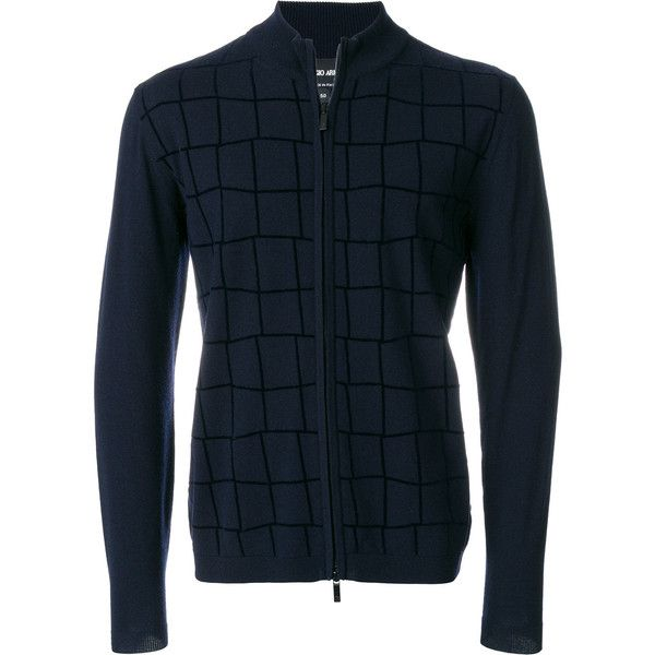 Giorgio Armani check zipped cardigan (2.110 BRL) ❤ liked on Polyvore featuring men's fashion, men's clothing, men's sweaters, blue, mens zipper sweater, mens zip sweater, mens cardigan sweaters, mens zip cardigan sweater and mens blue sweater