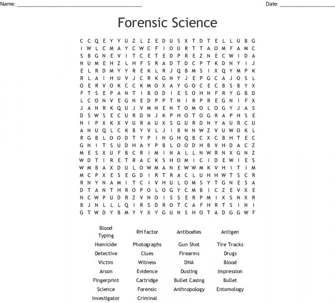 8 Forensic Science A To Z Challenge Worksheet Answers Word Find Science Words Science Word Search