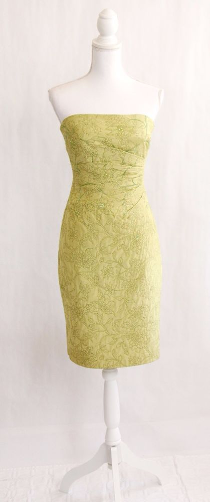 KAY UNGER Embellished Silk Floral Sheath Cocktail Dress Sz 2 XS Green Strapless #KayUnger #Sheath #Cocktail