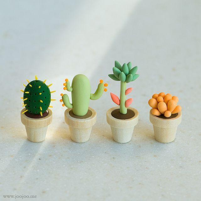 Petits cactus tout choux pâte fimo