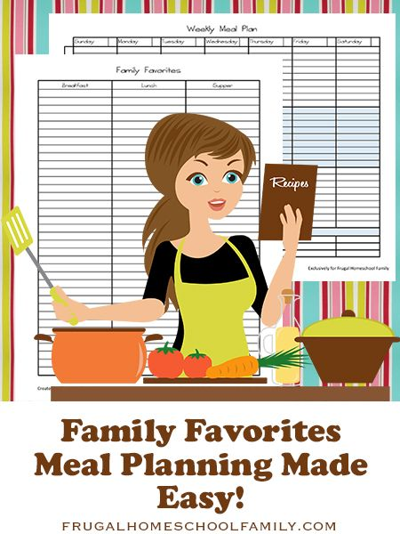 Meal Planning Printables from Frugal Homeschool Family