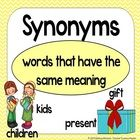 If you're teaching about synonyms this will be a great addition to your classroom!Includes:*Matching game - 16 sets of synonym cards (32 cards) a...