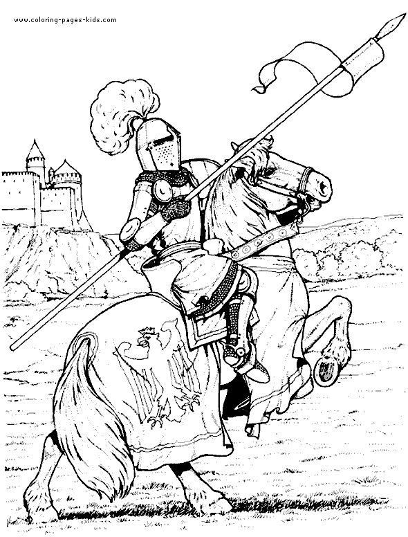 Knight in armor on a horse color page fantasy medieval coloring pages, color plate, coloring sheet,printable coloring picture