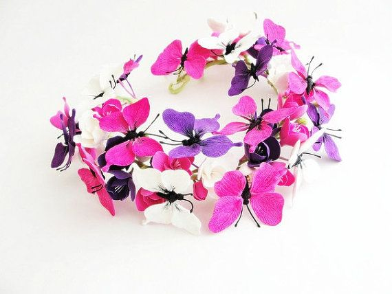 Pink purple white Butterfly hair crown, butterfly hair crown, wedding hair wreath, wedding headpiece, wedding wreath, butterfly