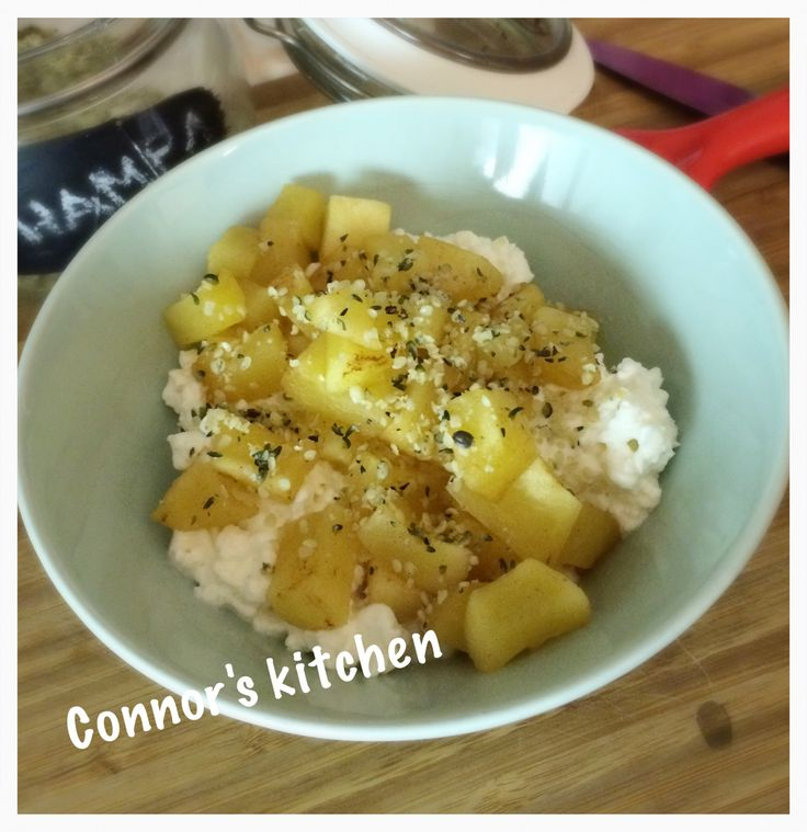 Cottage cheese with warm apple and cinnamon
