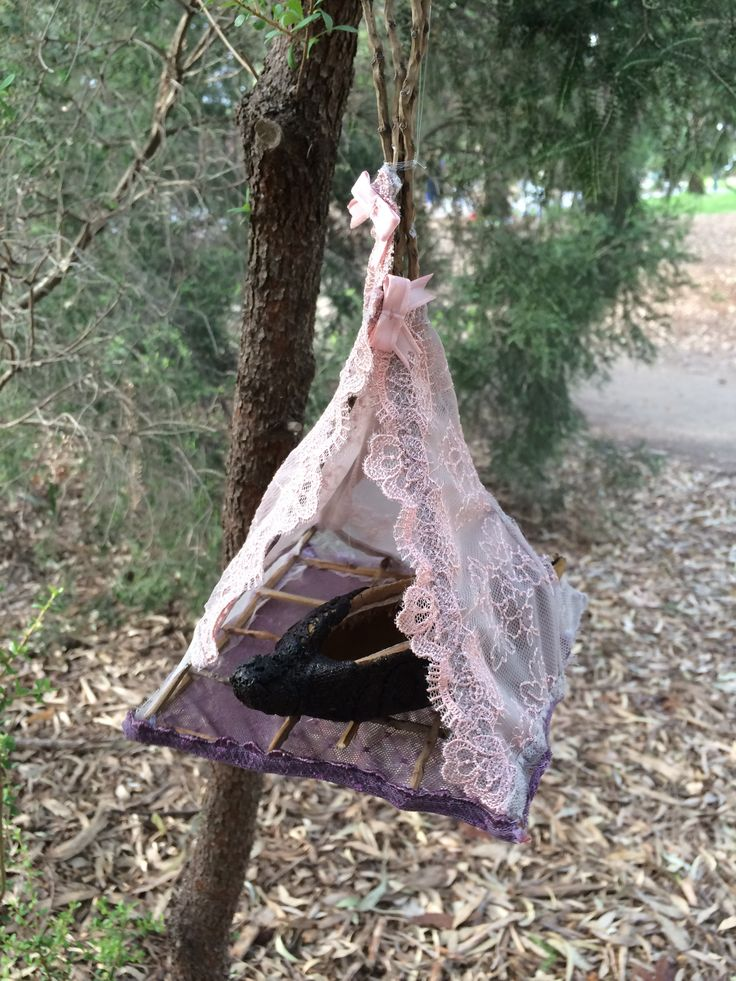 'Nests' provide a safe home for discarded seedpods.  Combining rarely used materials of remnant fabric with natural fallen tree branches and empty seedpods that would otherwise be discarded, the pieces provide a more subtle environmental message about reuse and nurture.