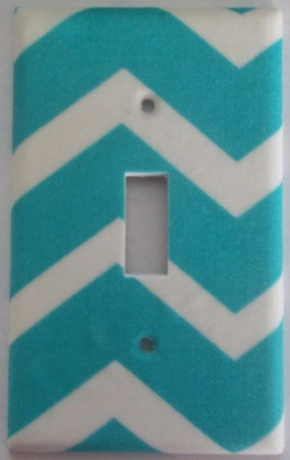 Teal Chevron Wavy Lines Colorful Girls Light by SwitchplatesStore
