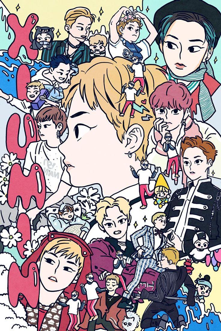 Fan art of Kim Min-seok (김민석) also known mononymously as Xiumin (시우민) of EXO (엑소).    By langmanpanda on FanBook.