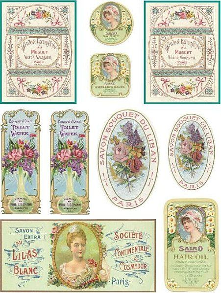 étiquettes de savon.  Vintage Style Soap Tags. (Labels, party decoration, card, DIY paper craft idea.)