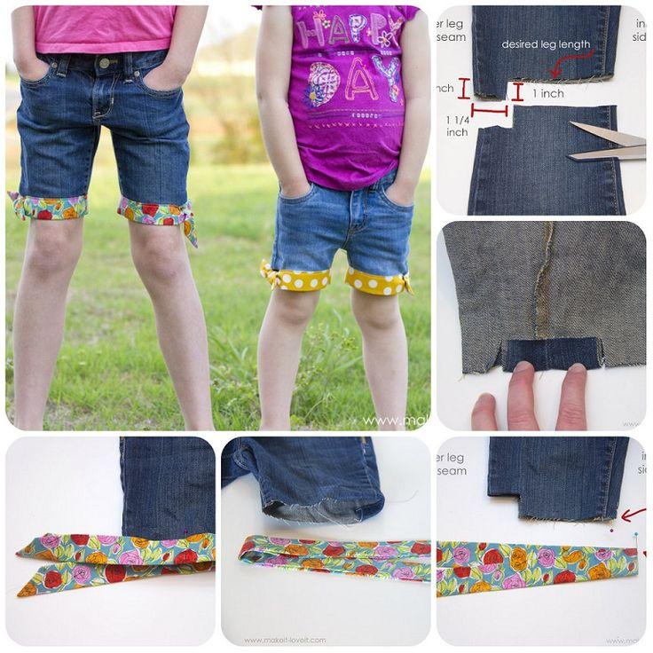 Come trasformare i jeans dei bambini ormai troppo corti o strappati in pantaloncini.