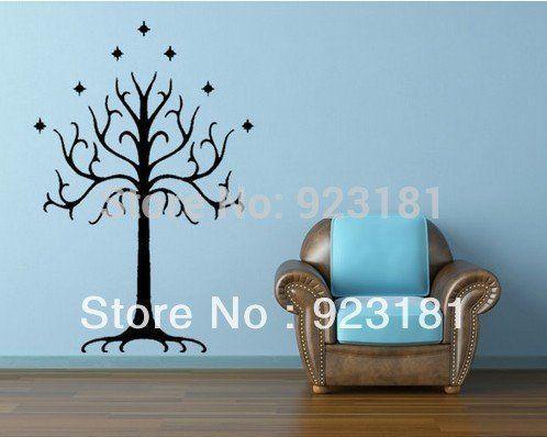 LOTR Seigneur des Anneaux arbre blanc de Gondor Wall Art Stickers autocollant Bricolage Décoration murale autocollants amovibles de 87x57cm…