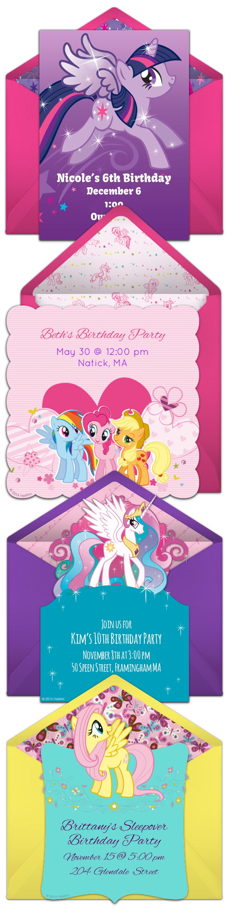 17 best images about My Little Pony Birthday Ideas – Punchbowl Birthday Invitations