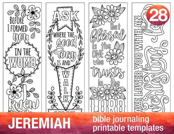 JEREMIAH - 4 Bible journaling printable templates, illustrated christian faith bookmarks, black and white bible verse prayer journal