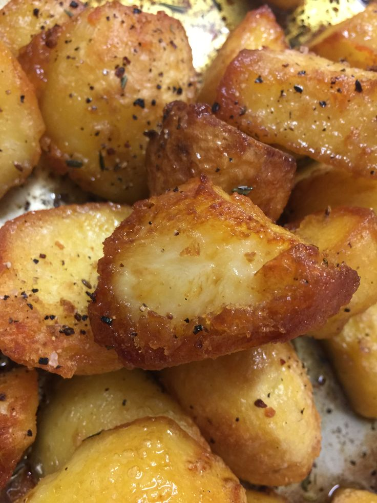 Roast potatoes, cooked in beef dripping, with Maldon sea ...