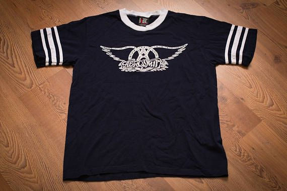 Aerosmith 1997 Ringer T-Shirt, Svengali/Giant, Vintage 90s, Rock and Roll Band Logo, Sriped Short Sleeve Graphic Tee, Music Apparel
