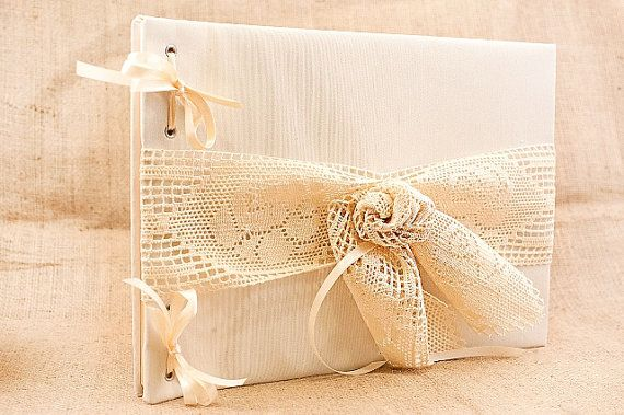 Wedding Guest Book Traditional Retro Rustic by LenaWeddings