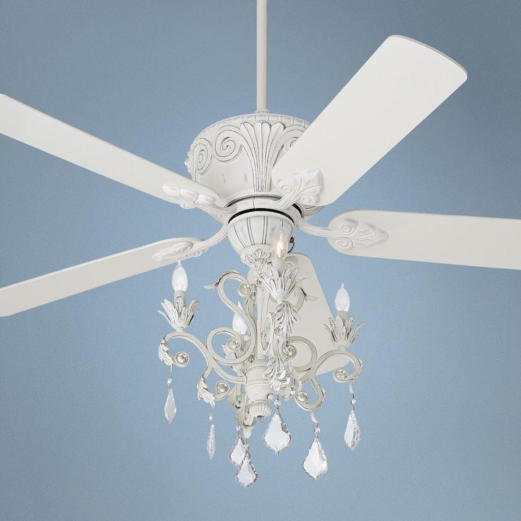 White Chandelier Ceiling Fan: Casa Deville™ Rubbed White Chandelier Ceiling Fan