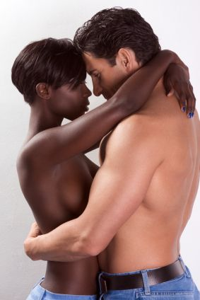 black man and white woman in love