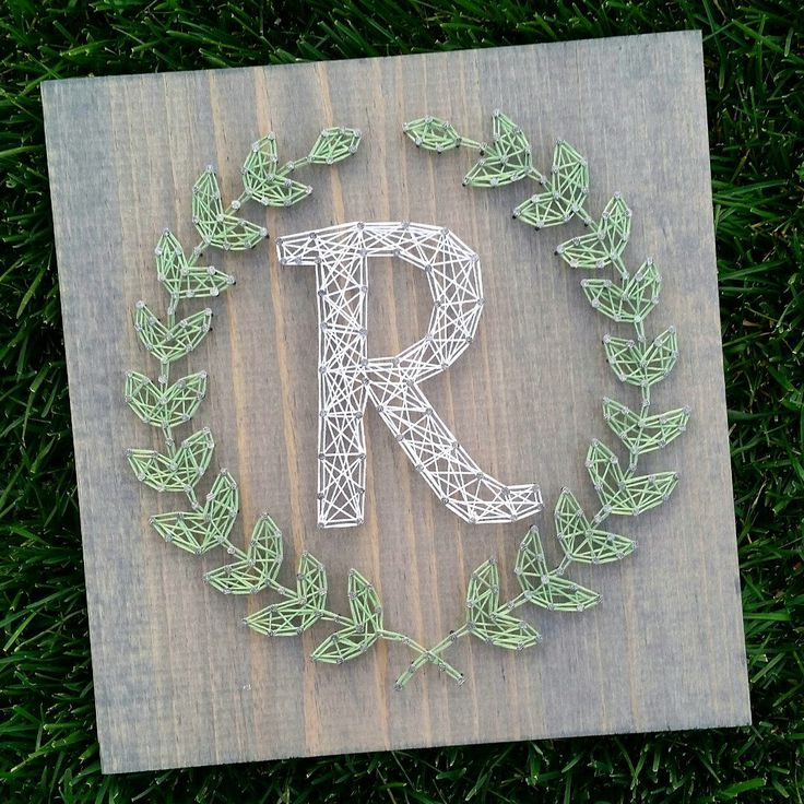 Custom string art laurel leaf monogram by blossomingburlap on etsy