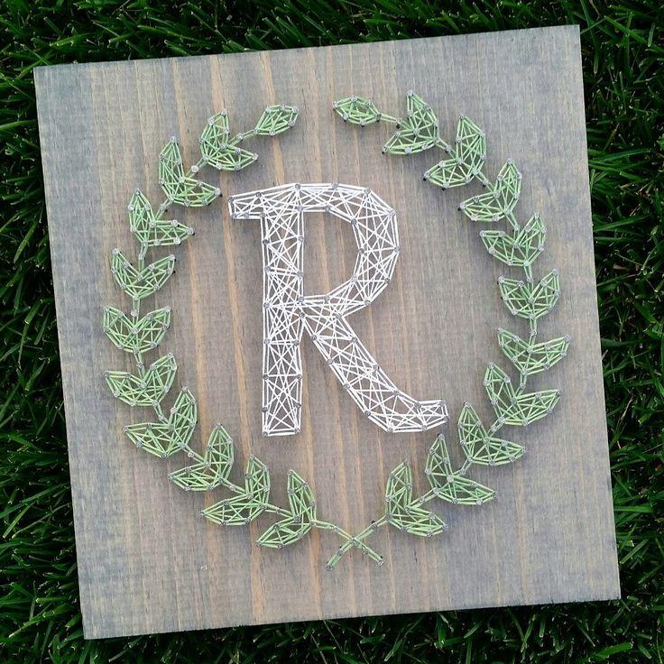 Custom string art laurel leaf monogram by
