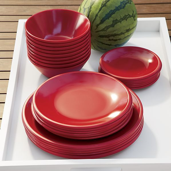 Lunea Melamine Red Dinnerware  | Crate and Barrel