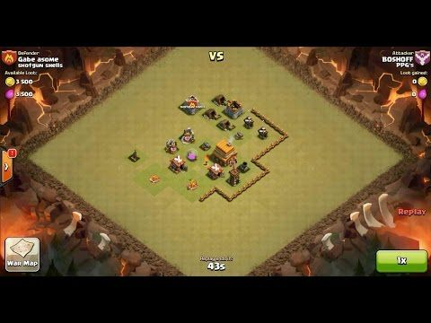Clash of Clans TH6 vs TH4 Barbarian, Archer & Goblin Clan War 3 Star Attack ⋆ Clash of Clans 3 Stars Clan Wars