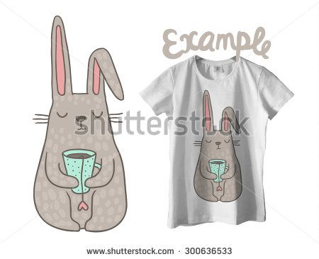 cute cartoon hand drawn bunny drinking tea - adorable vector clip art for your t-shirt design. - stock vector