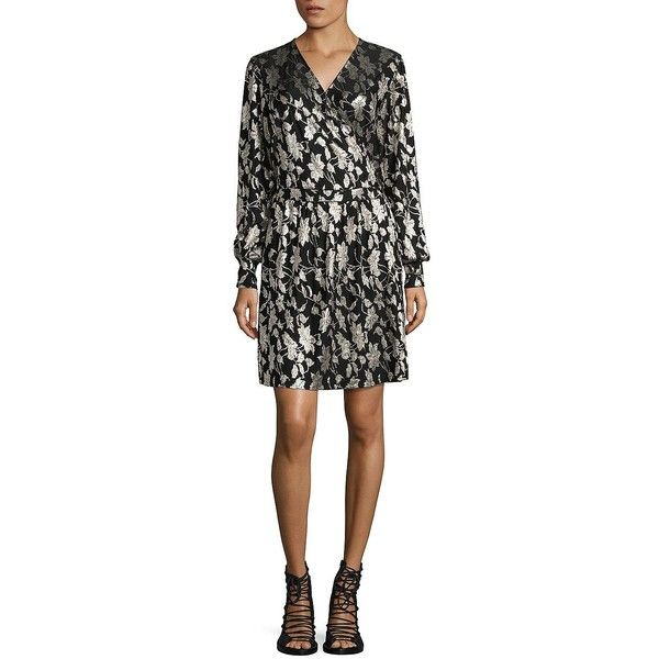Vero Moda Women's Romeo Wrap Dress ($65) ❤ liked on Polyvore featuring dresses, black gold, long sleeve dress, longsleeve dress, elastic waist dress, vero moda dresses and surplice dresses