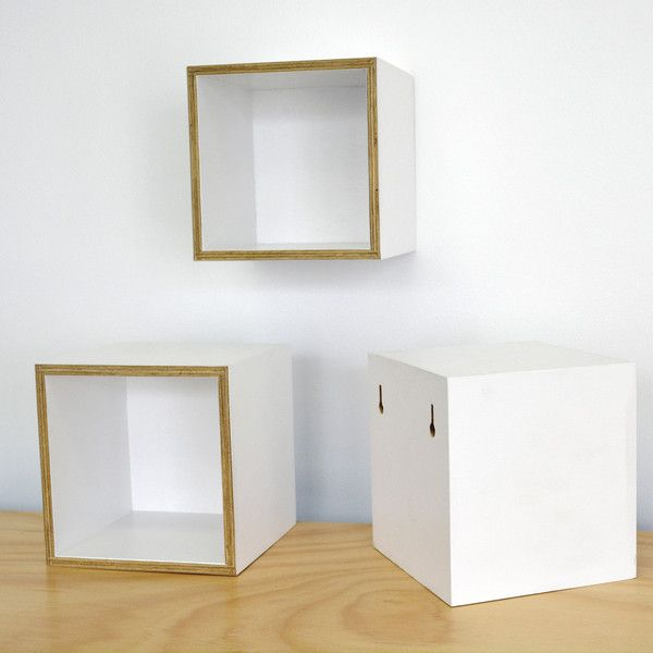 Work-Shop by MGDC Storage ©  200.200.200 in white.  Sustainable Australia plantation plywood with no voc paint finish.  You can wall mount these with our signature keyhole fixing system.  Available from http://www.work-shop.net.au/products/