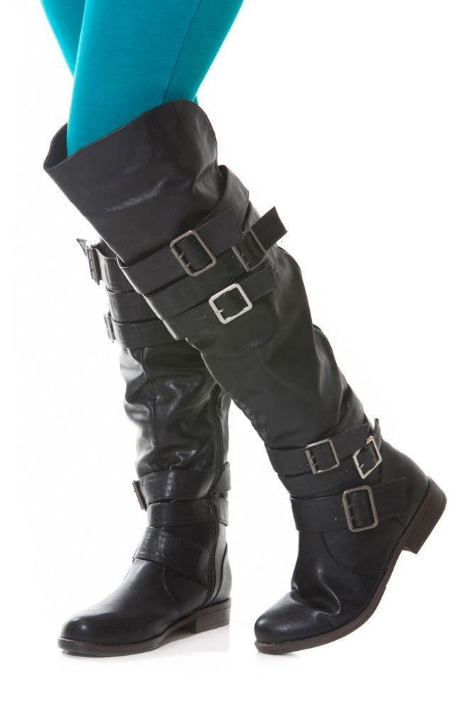 Buckled Faux Leather Boots   elfsacks