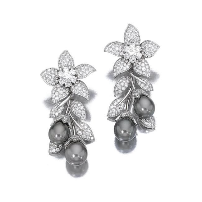 Sothebys Jewelry   ... and diamond ear clips, 'Orchis', Van Cleef & Arpels. photo Sotheby's