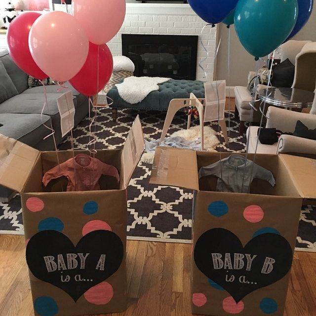 twin gender reveal balloons - Google Search