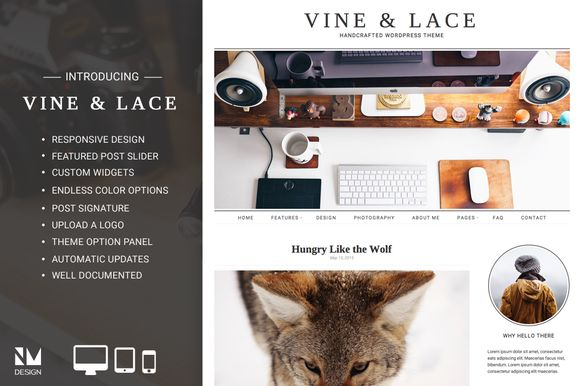 Vine & Lace - Handcrafted WordPress by Nudge Media Design on @creativemarket