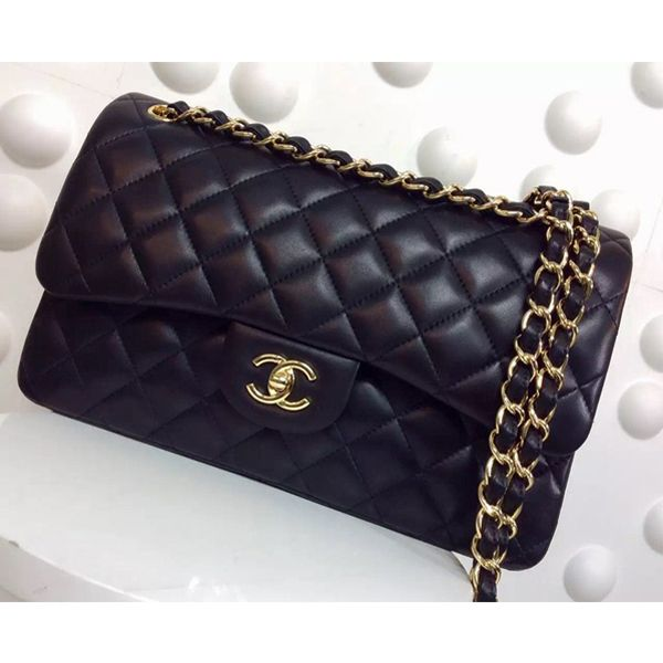 Chanel Classic large double C flap Quilted lambskin flap bag ... 1afb76c7c