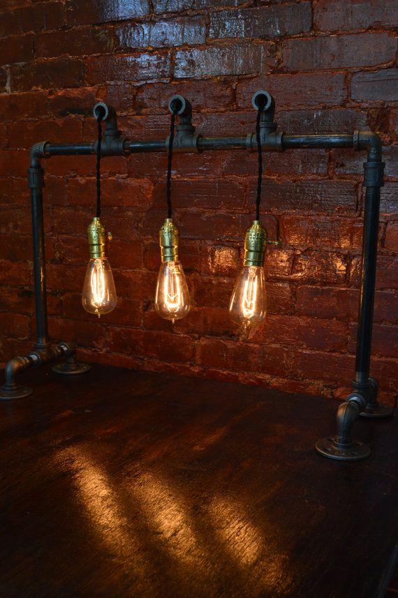 Industrial Table Light. Steampunk Decor We Love at Design Connection, Inc. | Kansas City Interior Design http://designconnectioninc.com/blog/ #Steampunk #InteriorDesign