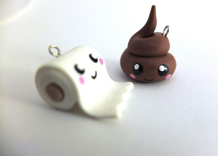 poo charm turd and toilet paper from Woolystore by DaWanda.com