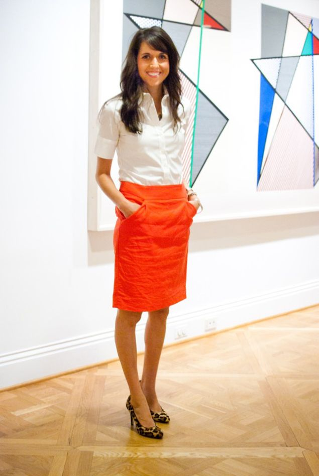 J.Crew skirt, the Shirt by Rochelle Behrens button-down, and BCBG pumps.