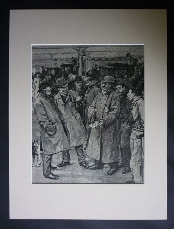 Antique print of London cab drivers. Beautiful artwork by William Rainey, taken from a Victorian art book.    Date printed: 1896.    Condition: