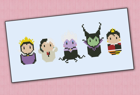 Disney evil villains chibi - PDF  cross stitch pattern