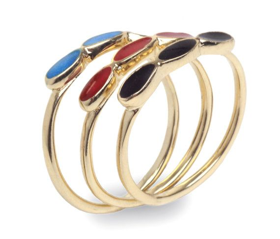 14K Gold plated stacking delicate 3 ovals ring by PaulaLapidot, $20.90   – Accessories