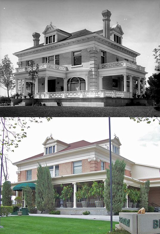 The Jesse Knight home in 1906 and present day. The mansion is now owned and used by Berg Mortuary.